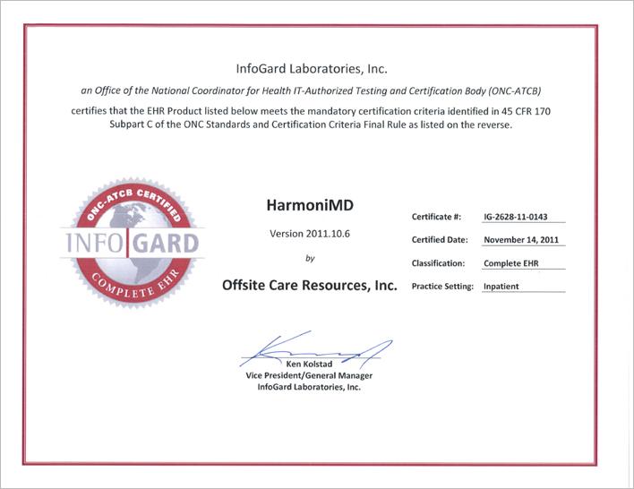 HarmoniMD Federal Certification